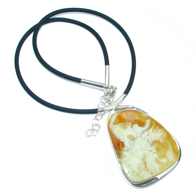 Natural Butterscotch Yellow Baltic Polish Amber Sterling Silver HANDMADE necklace