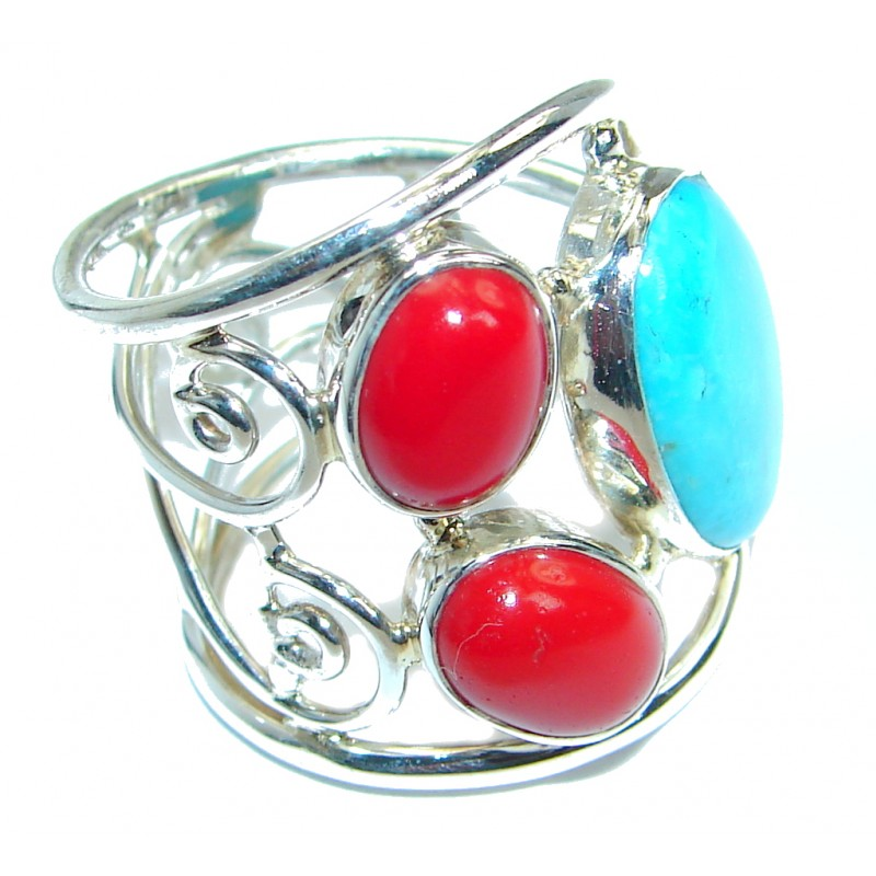 Genuine Turquoise Coral Sterling Silver made handcrafted ring size 8