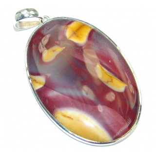 Huge Genuine Australian Mookaite oxidized .925 Sterling Silver handcrafted Pendant