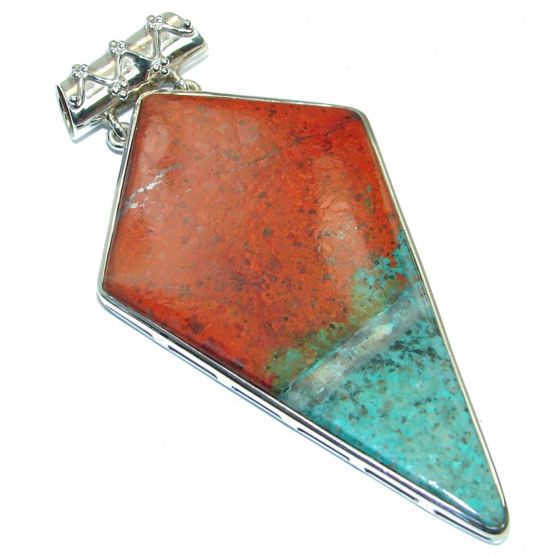 Large Unique Natural Sunrise Sonora Jasper Sterling Silver handmade Pendant