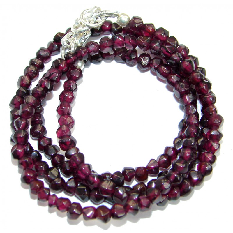 Simple genuine Garnet Beads Strand Necklace .925 Sterling Silver 20 inches necklace