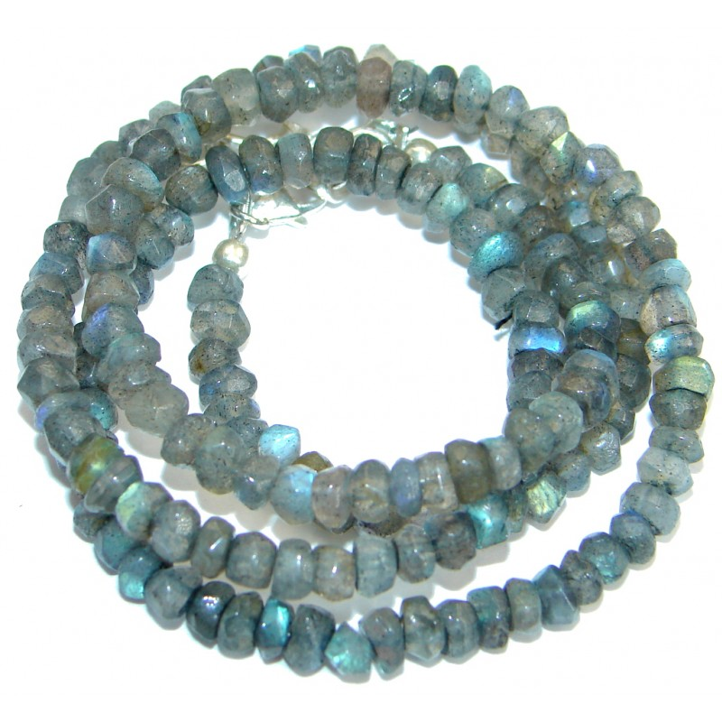 Simple genuine Fire Labradorite Beads Strand Necklace .925 Sterling Silver 20 inches necklace