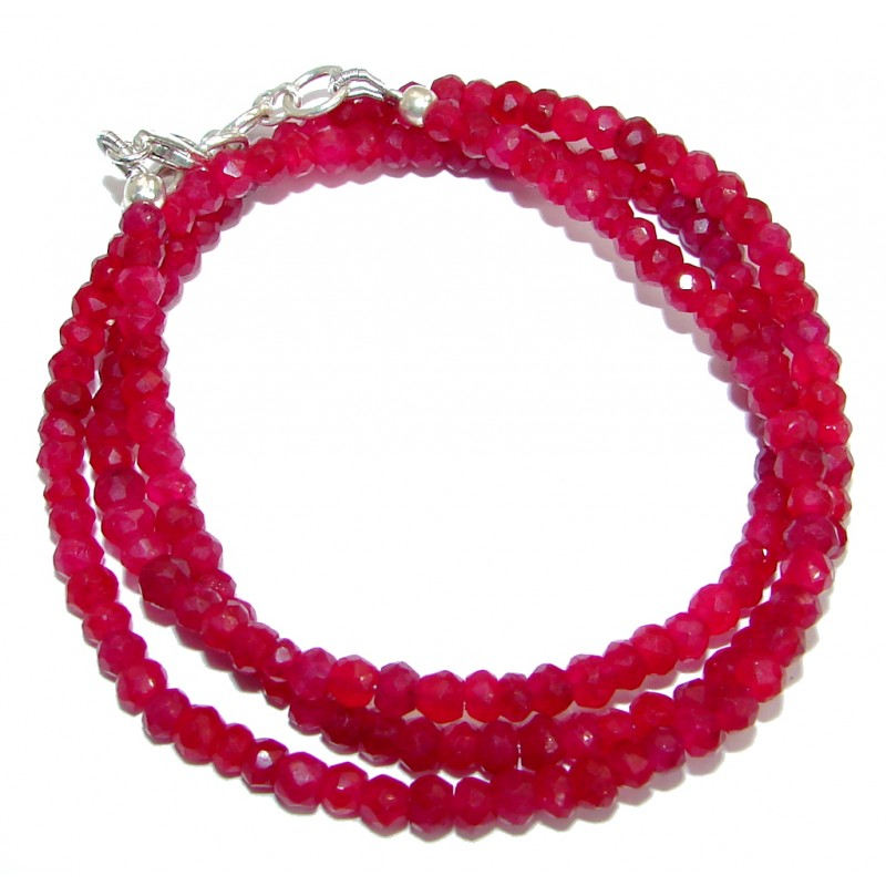 Simple genuine Ruby Beads Strand Necklace .925 Sterling Silver 18 inches necklace