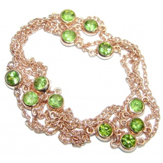 36 inches Genuine Peridot Rose Gold plated over .925 Sterling Silver station Necklace