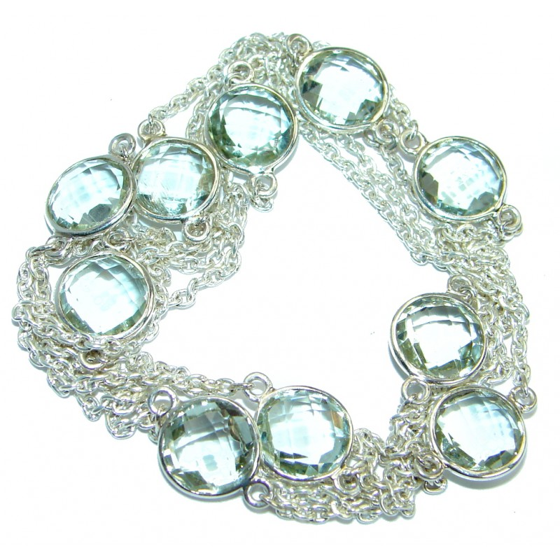 36 inches genuine Green Amethyst .925 Sterling Silver handmade Necklace