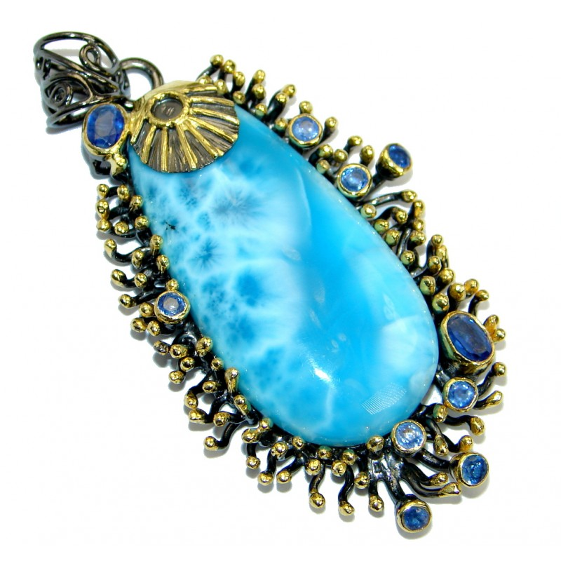 One of the kind Nature inspired Sublime Larimar Tanzanite .925 Sterling Silver handmade pendant