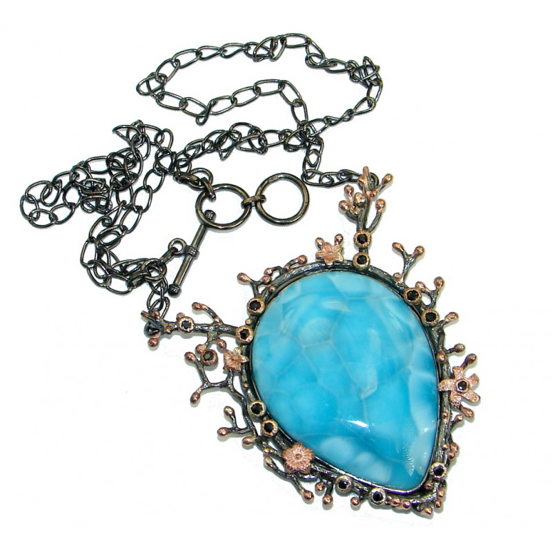 One of the kind Nature inspired Sublime Larimar Rose Gold plated over .925 Sterling Silver handmade necklace