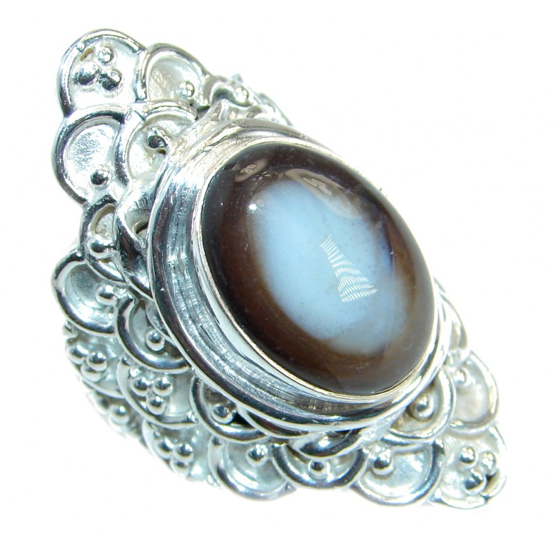 Great Botswana Agate Silver Tone ring s. 9