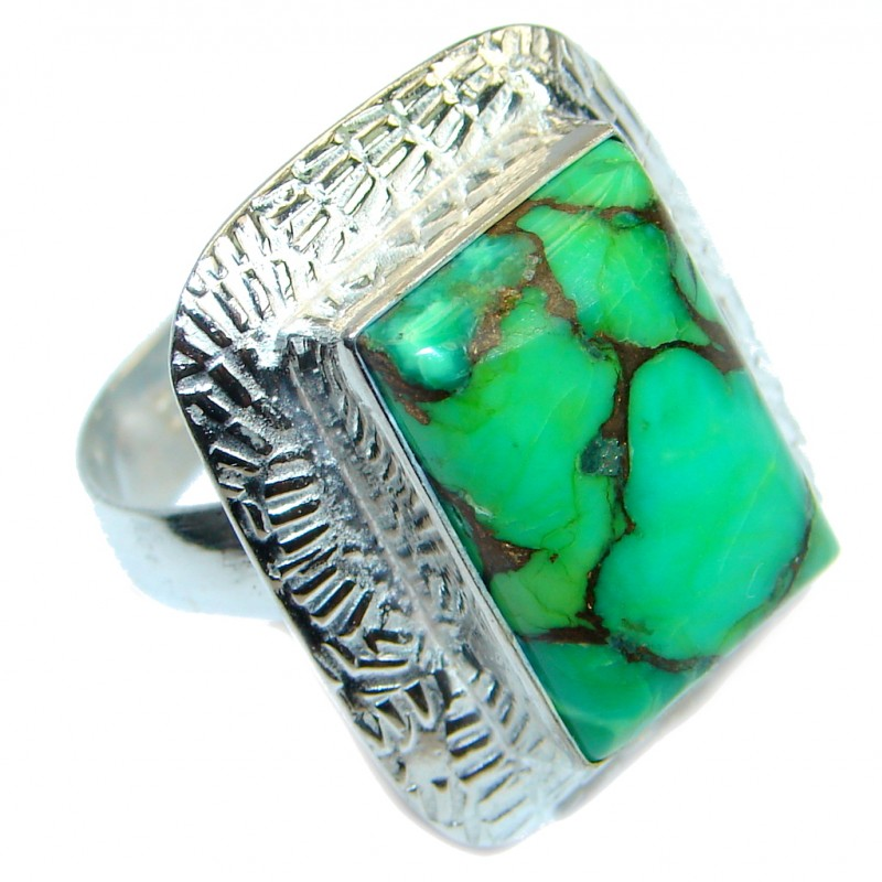 Exotic Copper Turquoise Silver Tone Ring s. 8 3/4