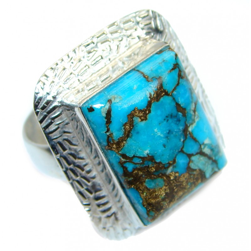Exotic Copper Turquoise Silver Tone Ring s. 8