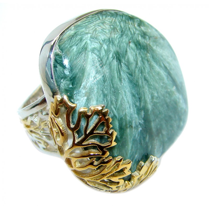 Huge great quality Green Seraphinite Two Tones .925 Sterling Silver Ring size 8 adjustable