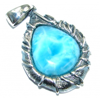 Unique Design Authentic Beauty Larimar .925 Sterling Silver handmade Pendant