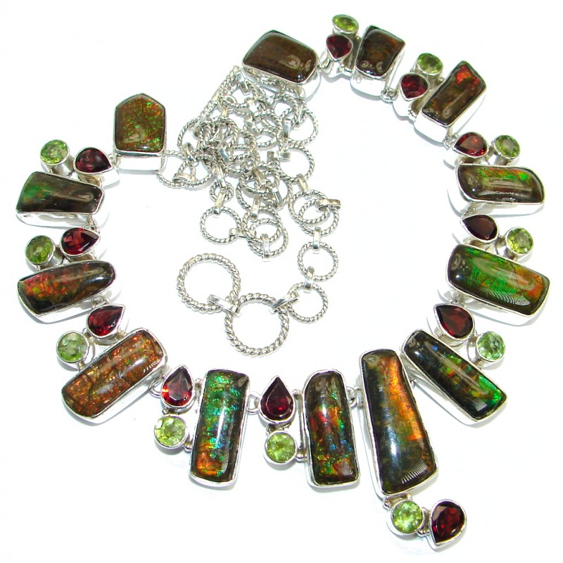 Jumbo Red Aura Natural Canadian Ammolite Sterling Silver handmade necklace