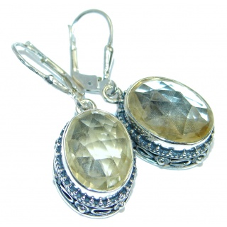Stylish genuine Citrine Sterling Silver handmade earrings