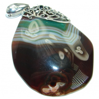 Huge Fine Art Natural color Agate Sterling Silver handmade Pendant