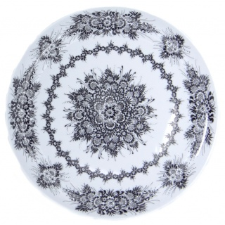 SilverrushStyle Large Porcelain Dinner Plate - Black Flower Collection