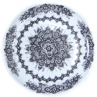 SilverrushStyle Opole Porcelain Dessert Plate - Black Flower Collection