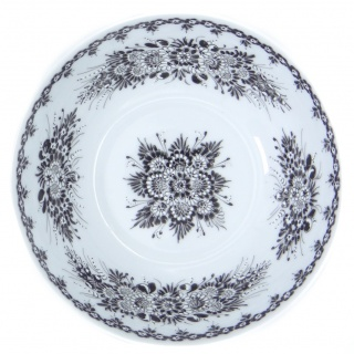 SilverrushStyle Opole Porcelain Soup Cereal Bowl - Black Flower Collection