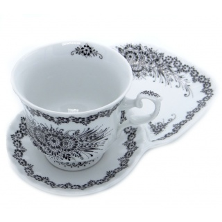 SilverrushStyle - Teacup & Dessert Saucer Porcelain - Black Flower Collection