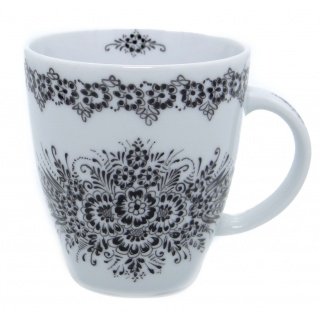 SilverrushStyle - Polish Porcelain Mug - Black Flower Collection