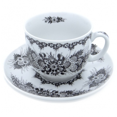 SilverrushStyle - Teacup & Saucer Porcelain - Black Flower Collection