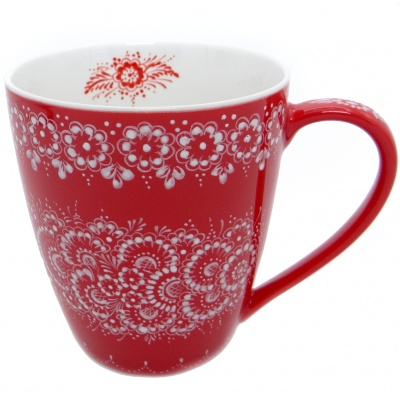 SilverrushStyle - Polish Porcelain Mug - Red Flower Collection