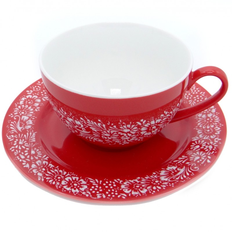 SilverrushStyle - Teacup & Saucer Porcelain - Red Flower Collection