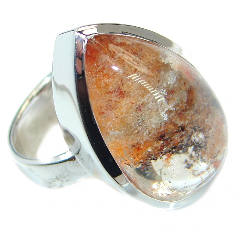 Amazing Brown Sandstone .925 Sterling Silver handmade ring s. 8