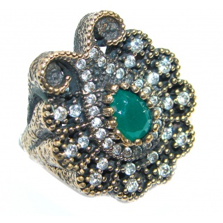 Victorian Style created Emerald & White Topaz Copper over Sterling Silver ring; s. 5 3/4