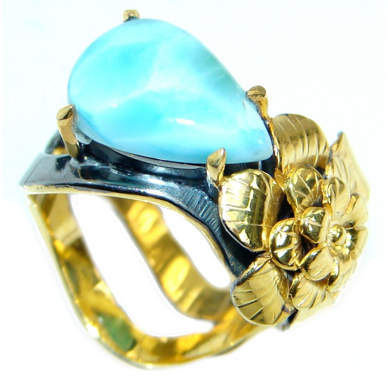 Genuine Larimar Rose Gold plated over .925 Sterling Silver Ring s. 7 adjustable
