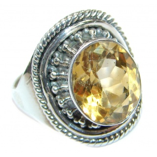 Energazing Yellow Citrine .925 Sterling Silver Cocktail Ring size 7