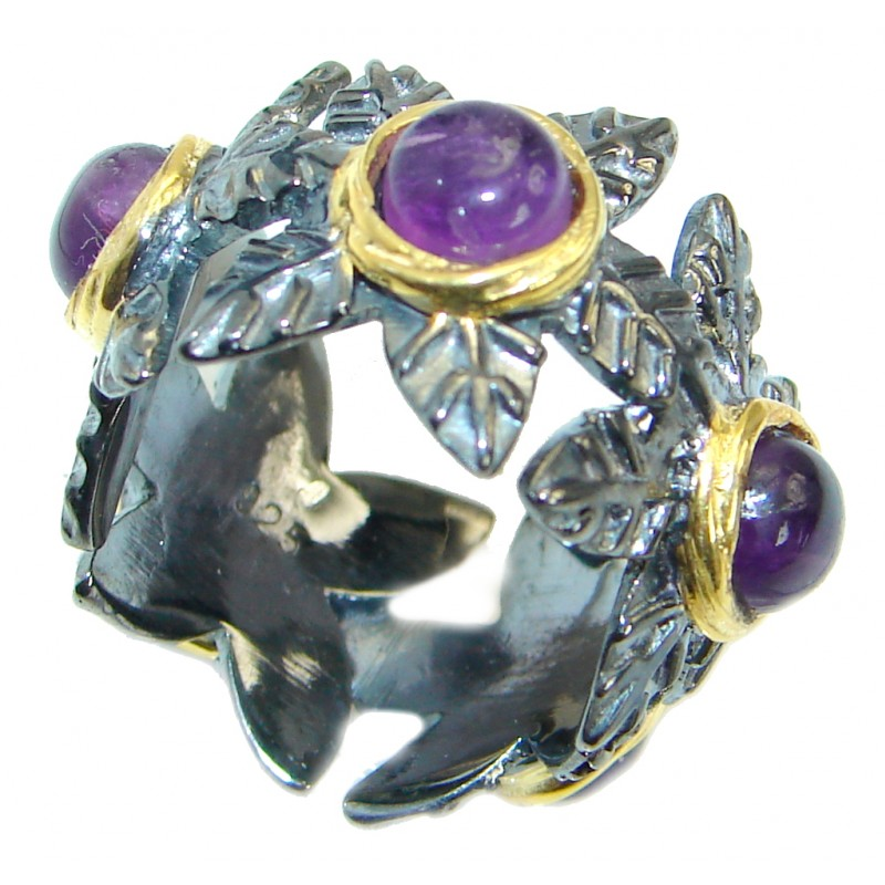 Unique Style genuine Amethyst Gold plated over .925 Sterling Silver ring; s. 5 1/2