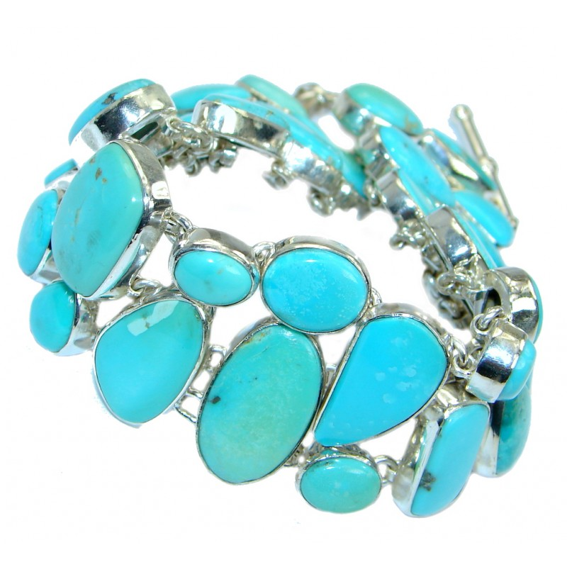 Large Sleeping Beauty Turquoise .925 Sterling Silver handmade Bracelet