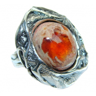 Large Authentic Mexican Fire Opal Oxidized Sterling Silver handmade Ring size 9 1/4