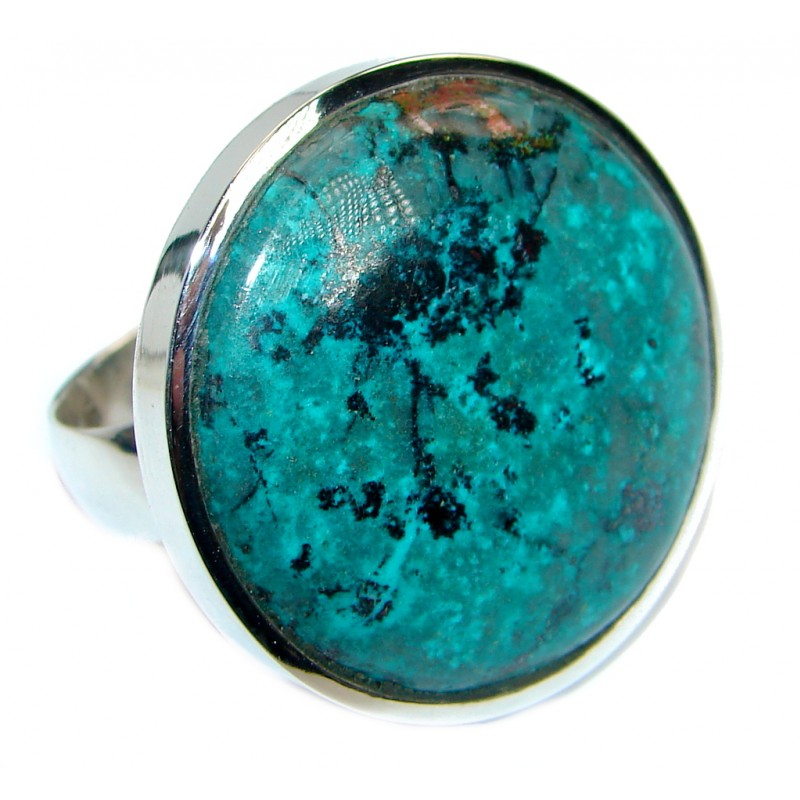 Stone Of Harmony Parrots Wing Chrysocolla Sterling Silver ring s. 7 adjustable