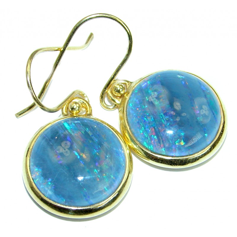 Classy Design Doublet Opal Gold plated over .925 Sterling Silver handmade earrings