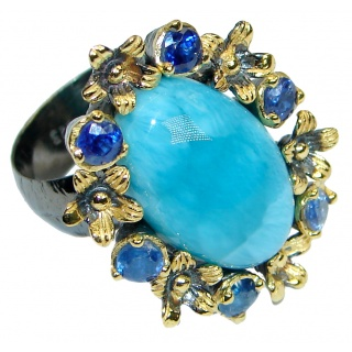 Posh Floral Design genuine Larimar Kyanite Gold plated over .925 Sterling Silver Ring s. 8 adjustable