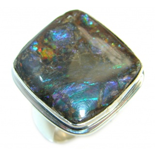 Twilight Zone Fire Genuine Canadian Ammolite .925 Sterling Silver handmade ring size 7 adjustable