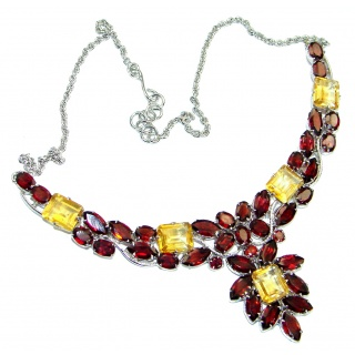 Fine Art Genuine Garnet Citrine .925 Sterling Silver handmade necklace