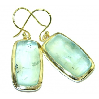 Authentic Moss Prehnite Gold plated over .925 Sterling Silver handmade earrings