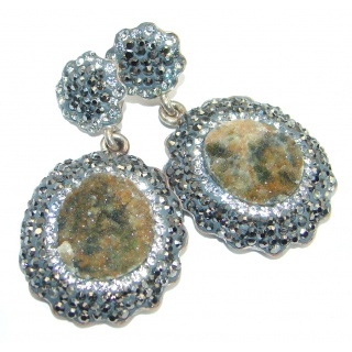 Vintage design Agate Druzy Spinel .925 Sterling Silver handmade earrings