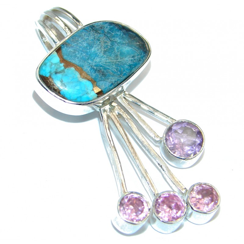 Natural Turquoise .925 Sterling Silver handmade Pendant