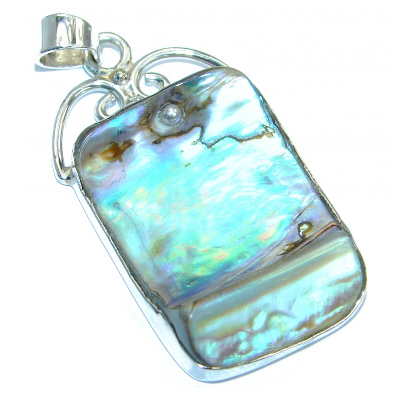 Natural Ocean Rainbow Shell Abalone Sterling Silver handmade Pendant