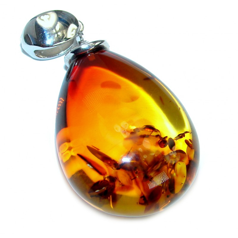 Great Design natural Baltic Amber Sterling Silver handmade Pendant
