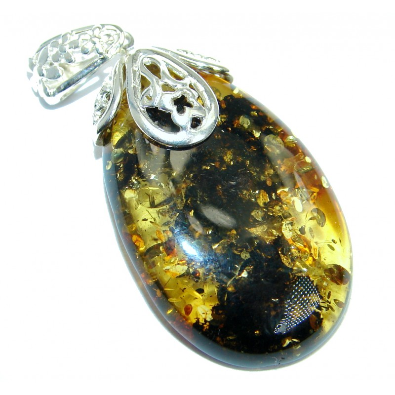 Great Design natural Green Baltic Amber Sterling Silver handmade Pendant