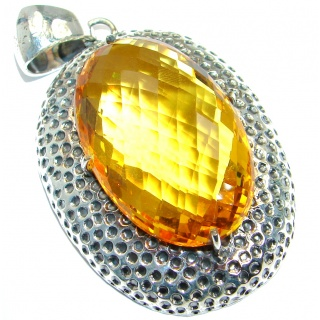 Huge Amazing created yellow Quartz Sterling Silver handmade Pendant