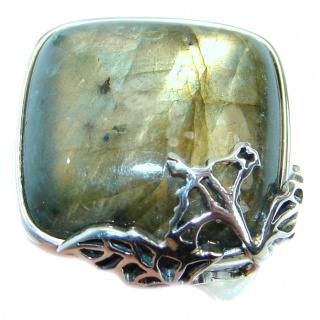 Blue Fire Labradorite .925 Sterling Silver handmade ring size 7 1/2