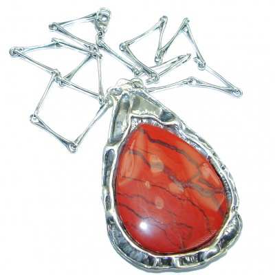 Large Master Piece genuine Red Jasper .925 Sterling Silver brilliantly handcrafted necklace