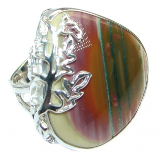 Charming Design authentic Imperial Jasper Sterling Silver ring size 7 adjustable