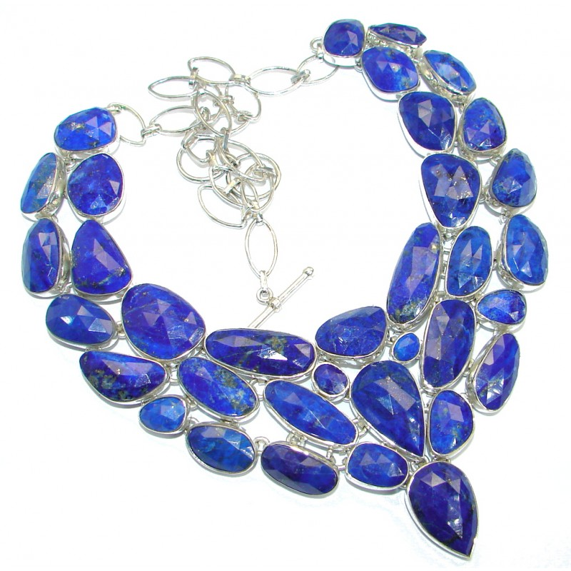 One in the world! Huge Boho Style authentic Lapis Lazuli .925 Sterling Silver handmade necklace